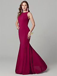 cheap -Mermaid / Trumpet Jewel Neck Floor Length Chiffon / Lace Bridesmaid Dress with Draping / Lace