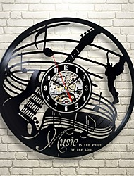 cheap -Guitar Musical Art Gift Circle Vinyl Wall Clock Artist Residence Decoration Interior Design Children's Room Living Bedroom