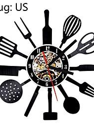 cheap -Creative kitchen utensils vinyl wall clock handmade vintage vinyl record clock create kitchen wall clock