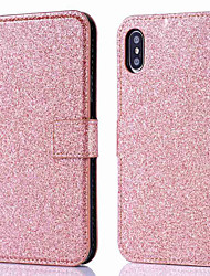 cheap -Phone Case For Apple Full Body Case Leather Wallet Card iPhone 12 Pro Max 11 SE 2020 X XR XS Max 8 7 6 Wallet Card Holder Flip Solid Color Glitter Shine Hard PU Leather