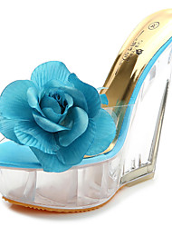 cheap -Women's Sandals Wedge Sandals Summer Wedge Heel Round Toe Classic Party & Evening Satin Flower PU Almond / Pink / Blue
