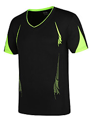 cheap -Men's Hiking Tee shirt with Shorts Short Sleeve Outdoor UV Resistant Breathable Ventilation Quick Dry Tee / T-shirt Top Spring Summer Polyester Taffeta V Neck Red Green Blue Climbing Camping / Hiking