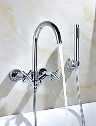 abordables -Robinet de douche / Robinet de baignoire - Moderne Chrome Montage mural Soupape en laiton Bath Shower Mixer Taps