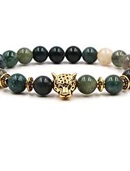 abordables -Bracelet à Perles Homme Femme Perlé Pierre Naturelle Vert Animal Chakra Panthère Hip-Hop équilibre Bracelet Bijoux Vert Circulaire pour Mariage Cérémonie