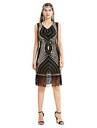 cheap -The Great Gatsby Charleston Retro Vintage 1920s Wasp-Waisted Flapper Dress Dress Women's Sequins Tassel Sequin Costume Black+Golden / Black+Sliver / Beige Vintage Cosplay Party Homecoming Knee Length