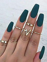 cheap -Women's Ring Ring Set Midi Rings 5pcs Gold Silver Alloy Round Unique Design Trendy Sweet Party Daily Jewelry Geometrical Heart Rate
