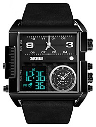 cheap -SKMEI Men's Digital Watch Digital Fashion Water Resistant / Waterproof Analog - Digital Rose Gold Black Gold / Leather / Calendar / date / day / Chronograph / Three Time Zones / Noctilucent