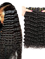 Недорогие -4 Связки Бразильские волосы Крупные кудри человеческие волосы Remy 200 g Человека ткет Волосы Пучок волос One Pack Solution 8-28inch Естественный цвет Ткет человеческих волос