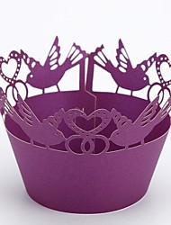 Недорогие -Круглые Розовая бумага Фавор держатель с Волнообразный Упаковка и коробки для кексов - 50
