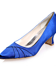 cheap -Women's Wedding Shoes Chunky Heel Square Toe Satin Minimalism Spring &  Fall White / Purple / Champagne / Party & Evening