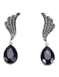 cheap -Women's Crystal Drop Earrings Briolette Feather Simple Classic Elegant Earrings Jewelry Black / White For Party Ceremony Festival 1 Pair