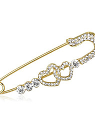 cheap -Women's Cubic Zirconia Brooches Classic Heart Fashion Brooch Jewelry Gold For Party Daily