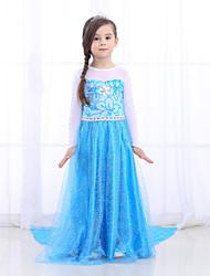 cheap -Princess Dress Flower Girl Dress Girls' Movie Cosplay A-Line Slip Pattern Dress Blue Dress Children's Day Masquerade Mixed Material