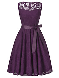 cheap -A-Line Hot Purple Holiday Cocktail Party Dress Illusion Neck Sleeveless Knee Length Lace with Bow(s) Lace Insert 2020