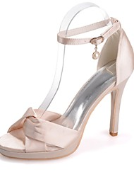 cheap -Women's Wedding Shoes Stiletto Heel Open Toe Imitation Pearl Satin Sweet Spring & Summer White / Purple / Champagne / Party & Evening