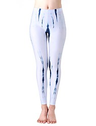 cheap -Women's High Waist Yoga Pants Leggings Breathable Tie Dye Orange+White Sky Blue+White White Elastane Fitness Sports Activewear