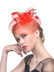 cheap -Women's Ladies Tiaras Fascinators For Wedding Party / Evening Prom Princess Feather Fabric Blushing Pink Red Royal Blue