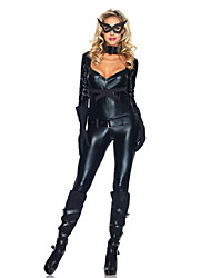 cheap -Zentai Suits Skin Suit Bunny Girl Adults' Latex Cosplay Costumes Leotards Women's Black Solid Colored Halloween Carnival Masquerade