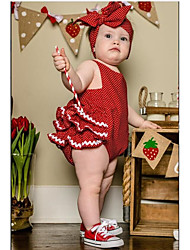 cheap -Baby Girls' Active Daily Polka Dot Stylish Sleeveless Cotton Bodysuit Red / Toddler