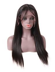 Недорогие -человеческие волосы Remy Лента спереди Парик стиль Бразильские волосы Естественные кудри Шелковисто-прямые Черный Парик 150% Плотность волос Для темнокожих женщин Жен. Длинные