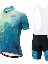cheap -Miloto Men's Short Sleeve Cycling Jersey with Bib Shorts Blue / White Blue / Black Bike Padded Shorts / Chamois Clothing Suit Breathable 3D Pad Moisture Wicking Reflective Strips Sports Clothing