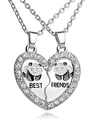 cheap -Men's Women's Silver AAA Cubic Zirconia Pendant Necklace Rolo Broken Heart Best Friends Relationship Hip-Hop Chrome Silver 46 cm Necklace Jewelry 2pcs For Wedding Engagement