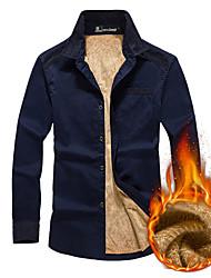 cheap -Men's Hiking Shirt / Button Down Shirts Long Sleeve Outdoor Breathable Quick Dry Softness Shirt Top Winter Cotton Fleece Army Green Khaki Royal Blue Cycling / Bike Traveling