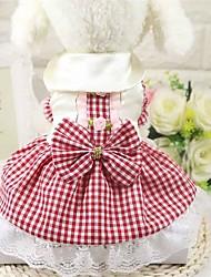 cheap -Dog Dress Dog Clothes Red Pink Costume Poodle Poly / Cotton Blend Plaid / Check Cute L XL