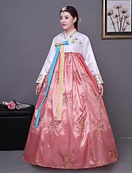 abordables -Hanbok Girl Enfant Fille Asiatique Coréen traditionnel Jeogori Hanbok Magoja Pour Soirée de Fiançailles Enterrement de Vie de Jeune Fille / Coton Courte / Mini Manteau Jupe Ceinture de Tour de Taille