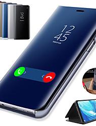 Недорогие -Кейс для Назначение SSamsung Galaxy Note 9 / Note 8 / Note 5 со стендом / Покрытие / Зеркальная поверхность Чехол Однотонный Твердый Кожа PU