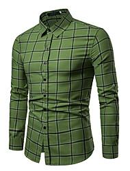 cheap -Men's Cotton Shirt - Plaid Red