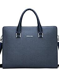 cheap -Men's Bags PU Leather Laptop Bag Briefcase Top Handle Bag Belt Zipper Solid Color Handbags Date Outdoor Black Blue