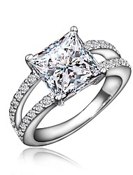cheap -Women's Ring Engagement Ring Cubic Zirconia 1pc Gold Silver 18K Gold Plated Imitation Diamond Round Stylish Luxury Romantic Party Engagement Jewelry Classic Lovely