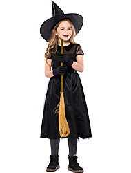 cheap -Witch Dress Cosplay Costume Hat Kid's Girls' Dresses Halloween Halloween Carnival Masquerade Festival / Holiday Tulle Polyster Black Carnival Costumes Patchwork