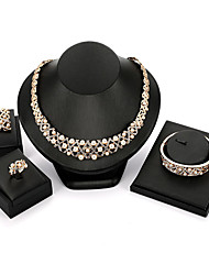 cheap -Women's Cuff Bracelet Drop Earrings Pendant Necklace Tassel Classic Vintage European Elegant Pearl Imitation Diamond Earrings Jewelry Gold For Wedding Party Ceremony Festival 5pcs / Open Ring