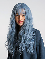 cheap -Synthetic Wig Body Wave With Bangs Wig Long Purple / Blue Black / Sapphire Blue Synthetic Hair 24 inch Women's Elastic Synthetic Easy dressing Blue HAIR CUBE / Ombre Hair / Natural Hairline
