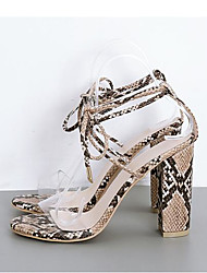 cheap -Women's Sandals Chunky Heel Peep Toe Animal Print Faux Leather / Snakeskin Casual Spring & Summer Almond / White