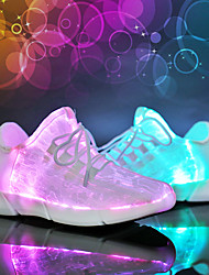 cheap -Boys' Girls' Sneakers LED Shoes USB Charging Luminous Fiber Optic Shoes Mesh Elastic Fabric Little Kids(4-7ys) Big Kids(7years +) Outdoor Lace-up Hook & Loop LED White Black Pink Spring & Summer