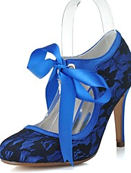 cheap -Women's Wedding Shoes Lace up Stiletto Heel Round Toe Vintage Wedding Party & Evening Lace Ribbon Tie Solid Colored White Blue Pink