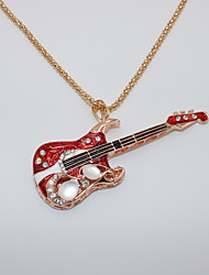 cheap -Men's Women's Cat's Eye Pendant Necklace Statement Necklace Classic Music Guitar Statement Trendy Rock Fashion Chrome Rose Gold Plated Red 70 cm Necklace Jewelry 1pc For Carnival Masquerade Birthday