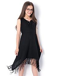 cheap -Kids Girls' Sweet Solid Colored Tassel Sleeveless Asymmetrical Dress Black