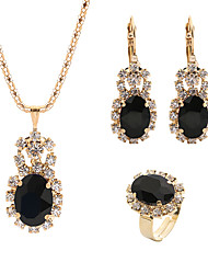 cheap -Women's Crystal Drop Earrings Pendant Necklace Bridal Jewelry Sets Classic Classic Elegant Rhinestone Earrings Jewelry White / Black / Purple For Wedding Ceremony Festival 4pcs / pack / Open Ring