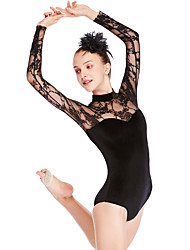 cheap -Ballet Leotards Women's / Girls' Performance Elastic / Lace / Velvet Lace / Split Joint Long Sleeve Dropped Hair Jewelry / Leotard / Onesie
