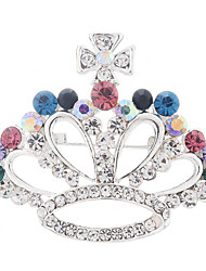 cheap -Women's Cubic Zirconia Brooches Crown Classic Vintage Korean Elegant Rhinestone Brooch Jewelry White Rainbow For Party Ceremony Masquerade Holiday