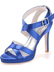 cheap -Women's Satin Spring & Summer Sweet Wedding Shoes Stiletto Heel Open Toe Buckle Royal Blue / Champagne / Ivory / Party & Evening