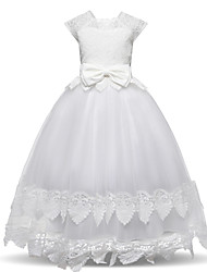 cheap -Princess Floor Length / Long Length Wedding / First Communion Flower Girl Dresses - Lace / Tulle Short Sleeve Square Neck with Lace / Tier / Splicing