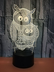cheap -Owl 3D Nightlight Color-Changing with USB Port Touch USB 1pc