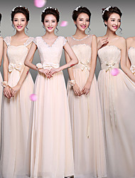 cheap -Sheath / Column V Neck Floor Length Chiffon Bridesmaid Dress with Lace