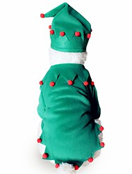 cheap -Dog Costume Outfits Christmas Winter Dog Clothes Red / Green Green Costume Corgi Beagle Bulldog Polyester / Cotton Blend Classic Christmas Cosplay Christmas S M L XL