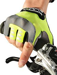 Недорогие -ROCKBROS Перчатки для велосипедистов Горные велосипеды Дышащий Противозаносный Впитывает пот и влагу Защитный Мальчики Девочки Без пальцев Полупальцами Спортивные перчатки Лайкра Зеленый для Детские